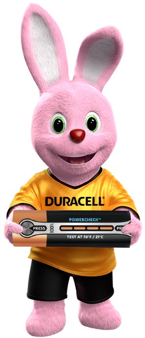 Bunny holder Duracell Ultra-batteri med Powercheck-funktion
